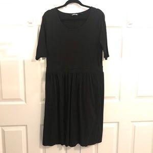 Black knit waist defined knee length dress